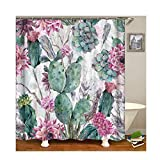 KnSam Duschvorhang Anti-Schimmel Wasserdicht Gardinen an Badewanne Bad Vorhang für Badezimmer Kaktus mit Blumen 100prozent PEVA inkl. 12 Duschvorhangringen 150 x 180 cm