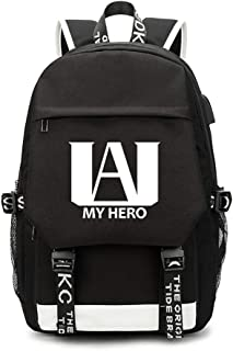 My Hero Academy Travel Anime Backpack, USB Charging Backpack Travel Canvas Daypack for Work College School Outdoor