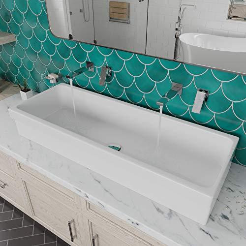 """ALFI brand AB48TR Bathroom Trough Sink, 48"""", White"""