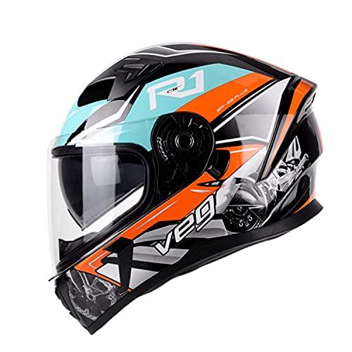 Casco Integral para Motocicleta Doble Visera Homologado ECE/Dot Casco Integral Moto Hombre Mujer Colorido Ligero Casco Cruzado para Jóvenes con Doble Visera 3,XXL