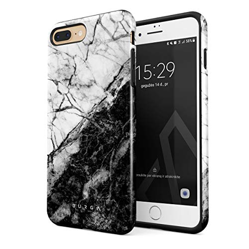 BURGA BURGA Hülle Kompatibel mit iPhone 7 Plus / 8 Plus - Weiß Und Schwarz Marmor Muster Marble Yin Und Yang Mädchen Robustes Stoßfestes Doppellagiges Hardcase + Silikon Handyhülle Case Cover