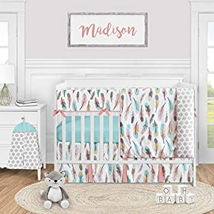 Sweet Jojo Designs Boho Feather Baby Girl Nursery Crib Bedding Set – 5 Pieces – Turquoise Blue Coral and Grey