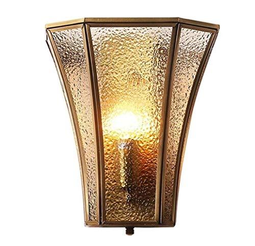 MGWA Luces de Pared Lámpara De Pared Moderna De Cobre Lámpara De Pared De Personalidad Creativa Pantalla De Cristal De Estilo Rústico Cuerpo De Cobre, Luz Cálida, A