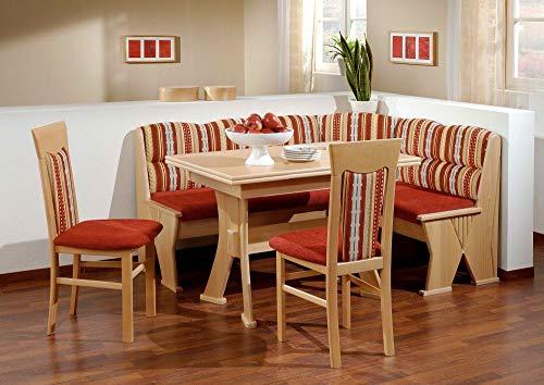 Beauty.Scouts Eckbankgruppe Esszimmergruppe Meran Truhen Eckbank, Tisch + 2 Stühle, Landhaus Küche rot Esszimmertisch und Stühle