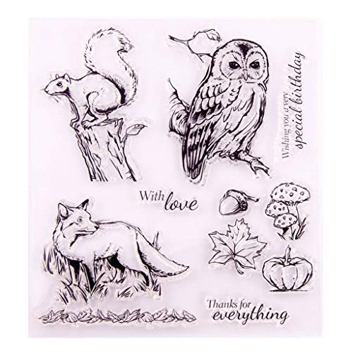 Sellos de silicona Owl Wolf Clear Stamps – Sello de decoración DIY – Sello de silicona – DIY Stamp – Sello en relieve