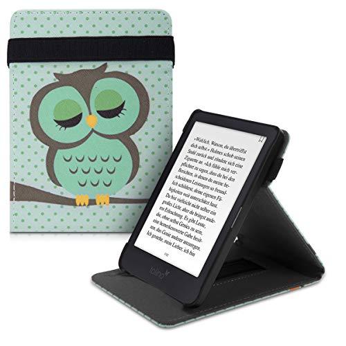kwmobile Schutzhülle kompatibel mit Tolino Shine 3 - Hülle e-Reader mit Schlaufe Ständer - - Eule Schlaf Türkis Braun Mintgrün