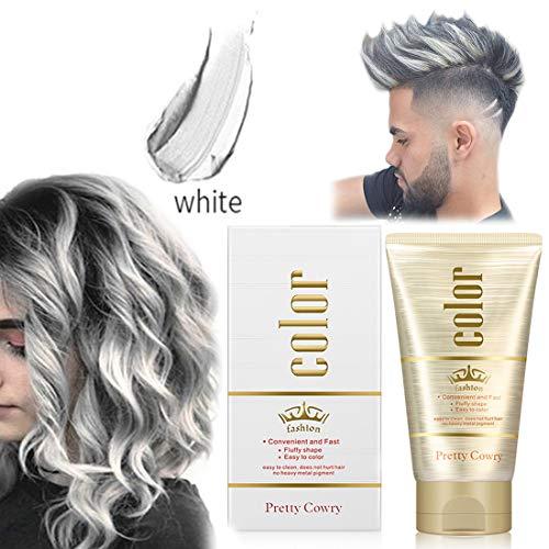 Cire Colorante Cheveux, 10 couleurs unisexes Temporaire Couleur des Cheveux Cire Boue De Cheveux Crème Teinture pour DIY Colorer et Coiffure pour Festivals Cosplay Soirées - 130g (Blanc)