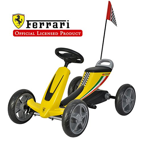 Galoper Scuderia Ferrari Kids Pedal Go Kart Pedal Powered Ride-on Toys for Boys & Girls Racer Pedal Car (Yellow)