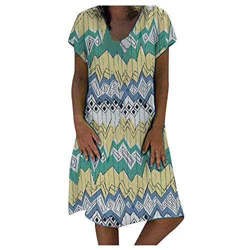 NAQUSHA Vestido de verano para mujer, casual, con cuello en V, talla grande, suelto, manga corta, vestido midi para mujer