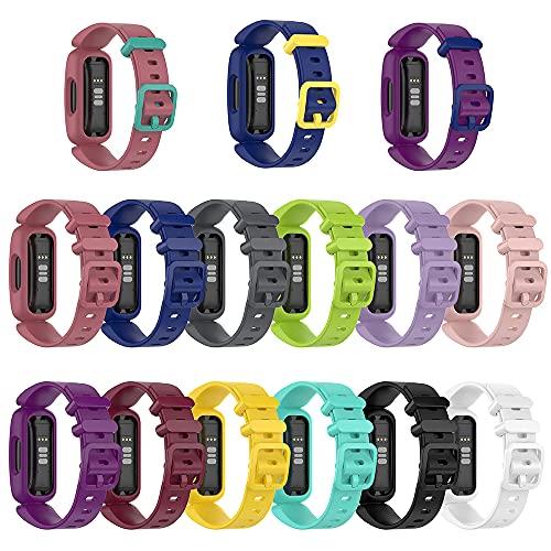 AISPORTS Correa de silicona compatible con Fitbit Inspire 2 para mujeres y hombres, correa de repuesto para Fitbit Ace 3 Fitness Tracker (5 unidades)