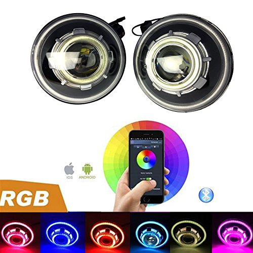 2 Pack-DOT Approved Lantsun RGB Bluetooth Control 7 Inch 40W Round Projectors LED Headlights 7 Colors with Angel Halos for Wrangler JK 07-17(RGB238)