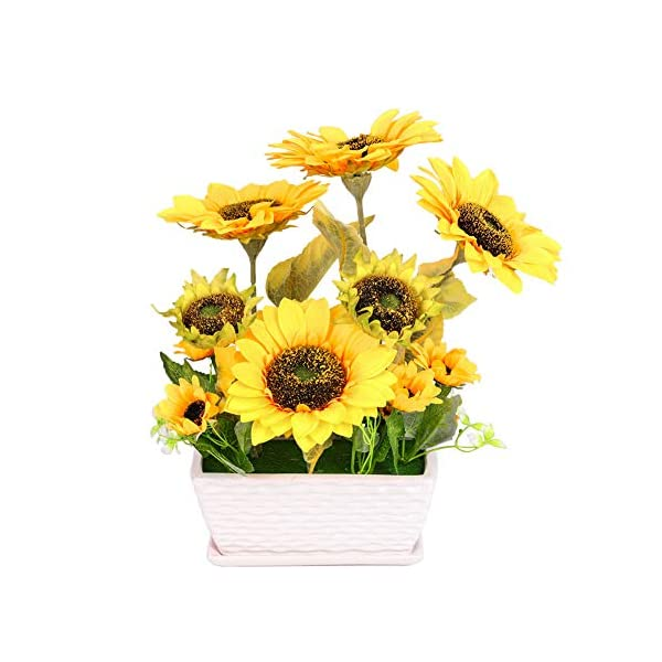 YSZL Large Artificial Silk Yellow Sunflower in Vase Arrangement for Home Decor