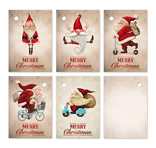 25 Geschenkanhänger Weihnachten, 52 x 74 mm / 5 lustige Weihnachtsmann-Motive je 5 St. / Weihnachtsanhänger, Anhänger, Geschenkkarten, Anhängeetiketten, Anhängeschilder von EDITION COLIBRI (Set 3)
