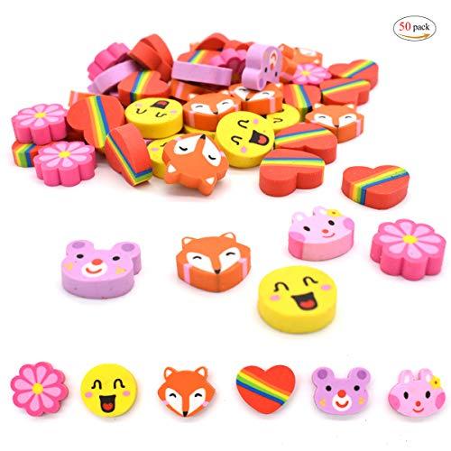 Gomas de Borrar Animales,Xiuyer 50 Piezas Mini Erasers Pack para Niños Regalo Fiesta Cumpleaños Navidad Escuela Papeleria Juguete Suministros
