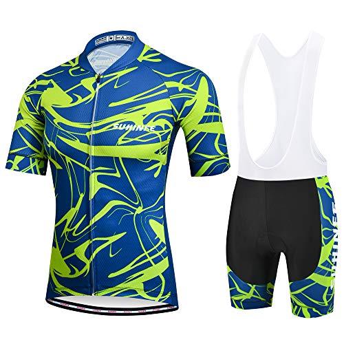 SUHINFE Ropa Ciclismo y Pantalones Equipación de Ciclista con 5D Gel Pad para Verano Deportes al Aire Libre Ciclo Bicicleta, L