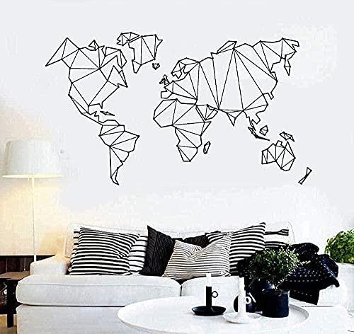 Pegatinas de pared de PVC sala de estar dormitorio mapa del mundo calcomanías mapa del mundo geométrico abstracto-30x52cm