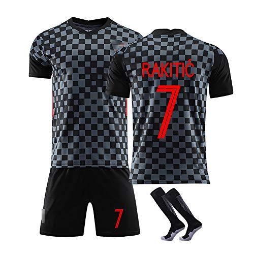 10 Modric und 7 Rakitic Trikot Benutzerdefinierte Fußballuniform WM Kroatien, Erwachsene Fußball Trikot Kits Fußball Trikot T-Shirt und Shorts-7#Black-XL