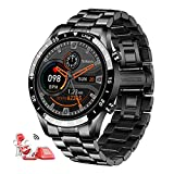 LIGE Mens Smart Watch,Bluetooth Voice Calls Fitness Tracker with Blood Pressure Heart Rate Sleep Monitor,1.3' Full Touch Screen Activity Trackers IP67 Waterproof Pedometer for iOS Android