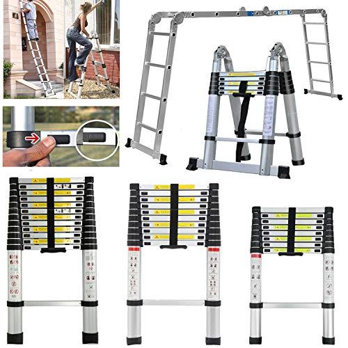 Stap Ladder 2.6M-5M Telescopische Uitbreiding Ladder EN131 Gecertificeerd Aluminium Draagbare Multi-Purpose Vouwen A-Frame Ladder Rechte Ladder voor Home Loft Office met Non-Slip Rubber, 150 kg Draagvermogen 3.2M Telescoping Ladder Zwart
