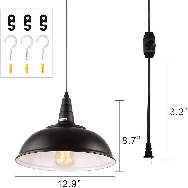 Xiadsk Licht, Lampe, Laterne Plug-in Pendelleuchten mit 16,4 ft Hngekabel und EIN Aus-Dimmer, Upgraded Industrial Metal Swag Deckenleuchte