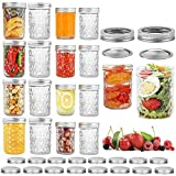 16 Pack Mason Jars with Lids 16 oz (8 Pack) & 8 oz (8 Pack), Canning Jars Wide Mouth, Mason Jar Cup...
