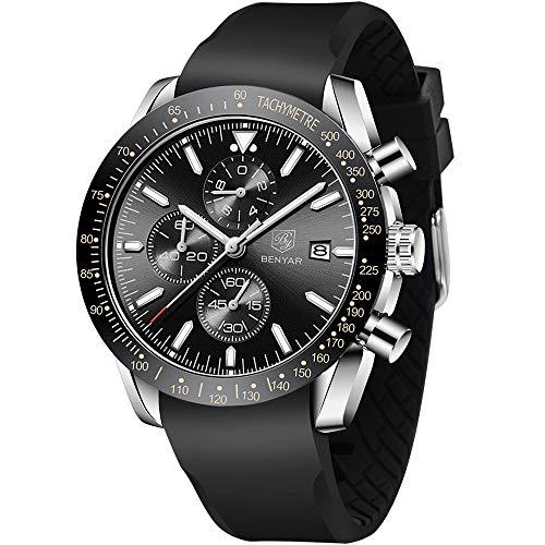 BY BENYAR Reloj para Hombre Cronógrafo de Cuarzo analógico con Correa de Silicona/Acero Inoxidable BY-5140M (Rubber Negro Plata)