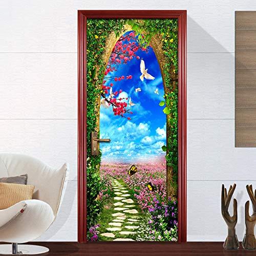 CJZYY Pegatinas 3D para puerta mural, de vinilo, autoadhesivas, para decoración de puertas, arcos, flores, mar, 95 x 215 cm