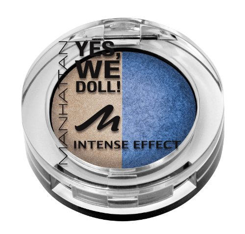 Manhattan Yes, we doll! Intense Effect Duo Eyeshadow Nr. 03 Mary Marionette Farbe: Gold/Dunkelblau Inhalt: 5g gebackener Lidschatten für Smokey Eyes. Eyeshadow für strahlen schöne Augen.