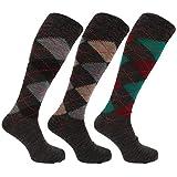 Universaltextilien Herren Socken/Kniestrümpfe mit Rautenmuster, nicht-einschneidende Bündchen, 3er-Pack (39-45 EUR) (Grautöne)