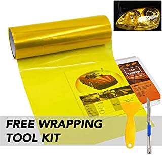 "KOMAS 12"" X 48"" Tint Vinyl Film Sticker Sheet Roll for Car Headlight, Tail Lights, Fog Lights (Glossy Yellow)"