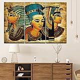 oioiu Mitos y Leyendas Cartel de Lienzo de Grabado en HD Retro 3 Piezas Pintura de Reina egipcia Arte de Pared Modular Unidad étnica Abstracta Decoración de la Sala de Estar