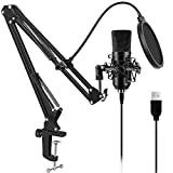 USB Streaming Podcast Microphone for Computer,ARCHEER Professional PC Studio Cardioid Condenser Microphone Kit with Scissor Arm Stand Shock Mount Pop Filter for Voice Overs,Recording,YouTube,Karaoke