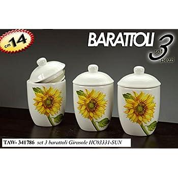 SET BARATTOLI SALE ZUCCHERO CAFFE/' CERAMICA GIRASOLE ART 8