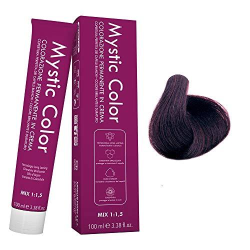 Mystic Color - Crème Colorante Permanente à l'Huile d'Argan et au Calendula - Coloration Longue Durée - Couleur pour Cheveux Bruns Violet Clair 5.2 - 100ml