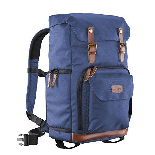Mantona Luis Retro Fotorucksack (mit Echtleder-Applikationen, inkl. Regenschutzhülle, flexible Einteilung und Laptopfach, geeignet für 1x DSLR-Kamera, 3x Objektive und diverses Fotozubehör) blau
