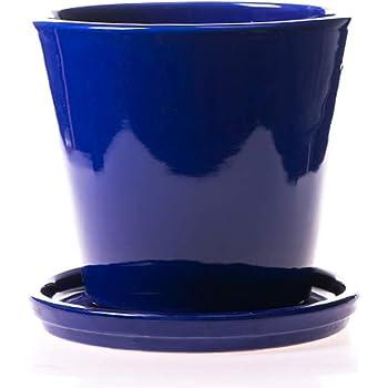 Alfareros Damian Canovas Maceta DE Barro ESMALTADA EN Color Azul Medidas 21 X 21 Plato.Modelo CUBETA