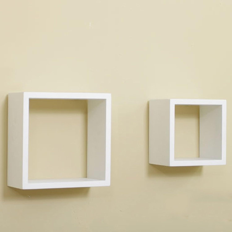 Rack Creative Lattice Wall Shelves Wall Cabinet Wall Shelf Background Wall Plank Wood (color   White)