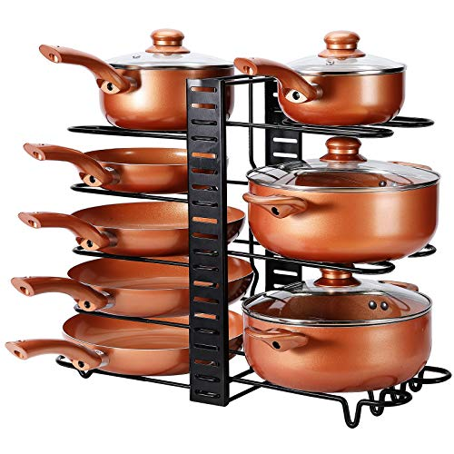 Focus Line Pan Organizer Rack for Cabinet, Kitchen Pot Organizer Rack with 3 Adjustable Method, 8 Tiers Pots and Pans Organizer under Cabinet For Large & Small Cookware