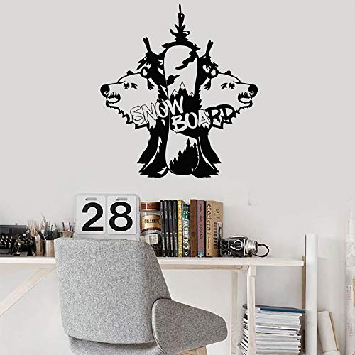 Snowboard Wandaufkleber Snowboarden Teen Room Decor Waldwolf Abziehbilder Removable Murals Boys Schlafzimmer Wallpaper 3795