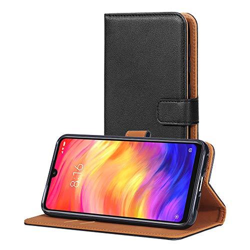 AICEK Hülle Kompatibel mit Xiaomi Redmi Note 7, Lederhülle für Xiaomi Redmi Note 7 Schutzhülle PU Leder Klapphülle mit Kartenfach Ständer Magnet Funktion Schwarz (6,3 Zoll)