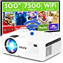 """M V V Full HD 7500-Lux LED Portable WiFi Projector with 100"""" Screen"""