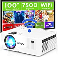 M V V Full HD 7500-Lux LED Portable WiFi Projector with 100
