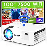MVV WiFi Projector with 100'' Screen, [200 ANSI--Over 7500 Lux] Projector for Outdoor Movies 1080P Portable Synchronize Smartphone Screen Compatible with TV Stick HDMI USB DVD Player