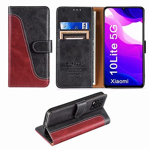 FMPCUON Handyhülle für Xiaomi Mi 10 Lite 5G Hülle Leder,Premium Klapphülle Handytasche Flip Hülle Handy Hüllen Schutzhülle für Xiaomi Mi 10 Lite 5G (6.57 Zoll),Rot/Schwarz