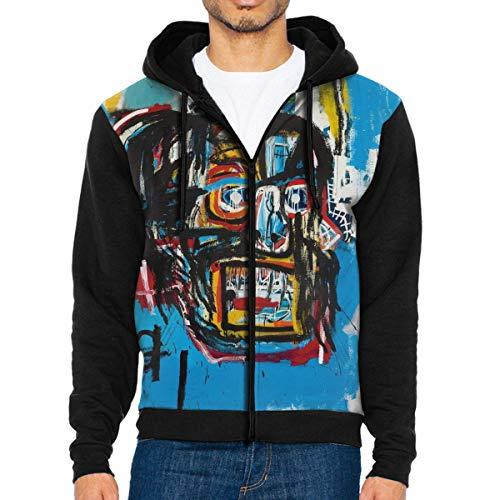 RobertAGonzalez Jean-Michel Basquiat Men Jacket Hoodie Full Zip Sweatshirt Outwear Warm Coats XXL Black