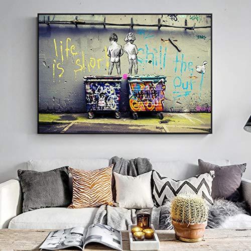 Banksy Graffiti Art Pintura abstracta en lienzo'La vida es corta Chill The Duck Out' Carteles e impresiones Imágenes Decoración del hogar 60x105cm (24x41in) Sin marco