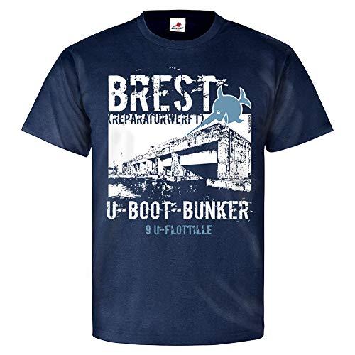 U-Boot Bunker Brest Reparaturwerft Marine Hafen Werft T Shirt #25875, Größe:M Herren, Farbe:Dunkelblau