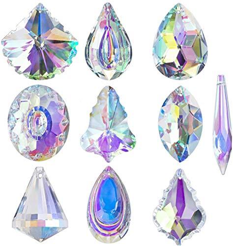 H&D Juego de 10 lámparas colgantes de cristal multicolor con forma de lágrima, para decoración del hogar o la ventana