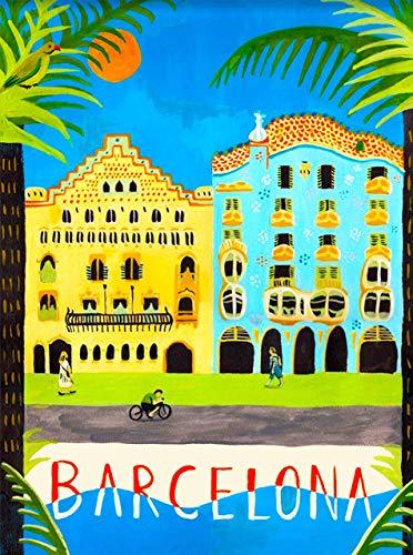 Letrero de chapa con diseño retro de Barcelona, España, España, Europea, España,...