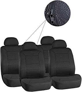 ECCPP Universal New 5MM Padding Soft Car Seat Cover w/Headrest - 100% Breathable Embossed Cloth Stretchy Durable Black for Most Cars Trucks Vans